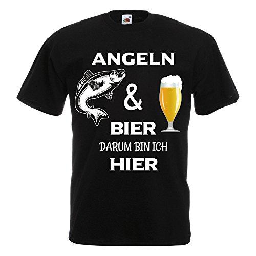 Cooles Angel Fun T-Shirt Angeln und Bier Bedruckt Angler Fischen Fishing Sport Black XL - La Angels T-shirt