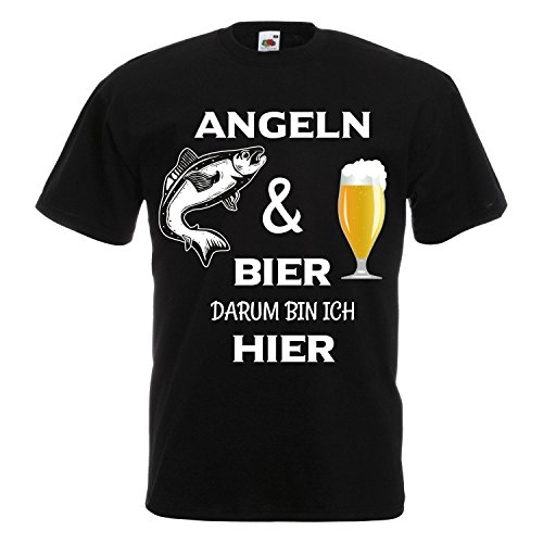 Cooles Angel Fun T-Shirt Angeln und Bier bedruckt Angler Fischen Fishing Sport Black XXL (Angels La T-shirt)