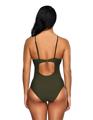 FeelinGirl Monokini Bikini Retro Badeanzug Einteiler Tankini Bademode Badeanzug One Shoulder Swimwear Swimsuit