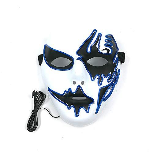 LMYG Leuchtende Maske, Clown Leuchtende Maske EL Kaltlicht Party Maske Halloween Maskerade Maske Dekoration Urlaub Cocktail Party Tanz,White,VoiceControl