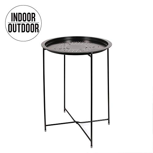 THE HOME DECO FACTORY Table D'Appoint Métal Noir Fer, 47 x 60 x 47 cm