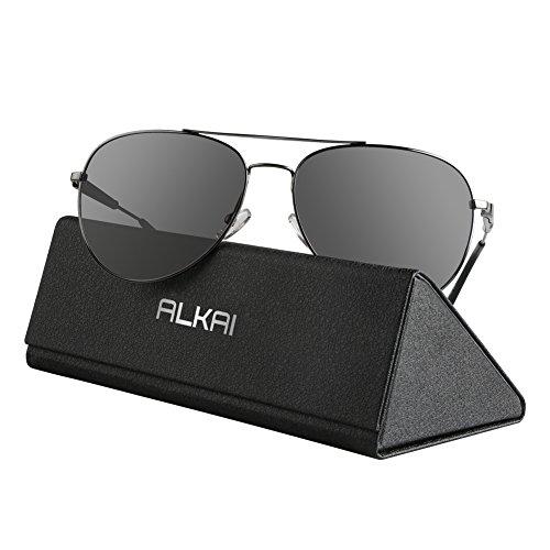 ALKAI Sonnenbrille klassische Sunglass für Herren/Damen/Jungen (Weiches Fall Leder-auge Glas)