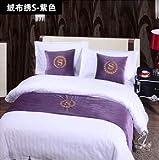SjyBed Bettläufer Schal Vintage Baumwolle Farbabstimmung Couchtisch Tischfahne nationalen Stil, lila Flanell, 50X210 für 1,5 Betten
