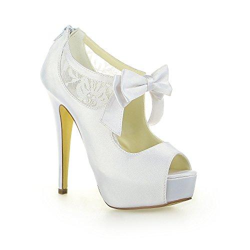 JIA JIA Scarpe da Sposa da Donna 20125 Peep Toe Stiletto Tacco Cerniera Piattaforma di Raso Pompe Bowknot Scarpe da Sposa Bianco