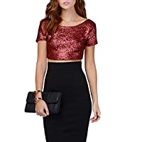 Chnli Women/Girl Short Sleeve T-Shirts Moulante Tops Col Neck Glitter Sequins Blouse Casual Shirt Spring Summer (6-8, Wine Red)