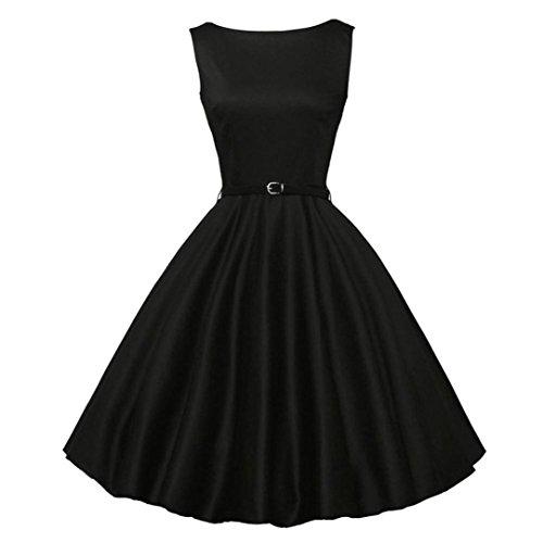 Damen Vintage 50er Ärmellos Rockabilly Swing Kleider Retro Hepburn Kleid Schwingen Pinup Rockabilly Kleid Btruely (S, Schwarz) (Sie Überprüfen Faltenrock)