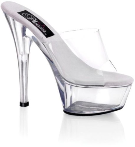 Pleaser Kiss 201 - Sandales compensées - Femme - Transparent (Transparent/Blanc) - 38 EU ( 5 UK )