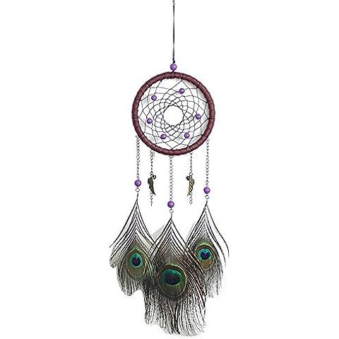 LaoZan Atrapasueños Con pluma del pavo real/Tradicional Hecho a mano Colgante de coches/Decoración que cuelga Talla única