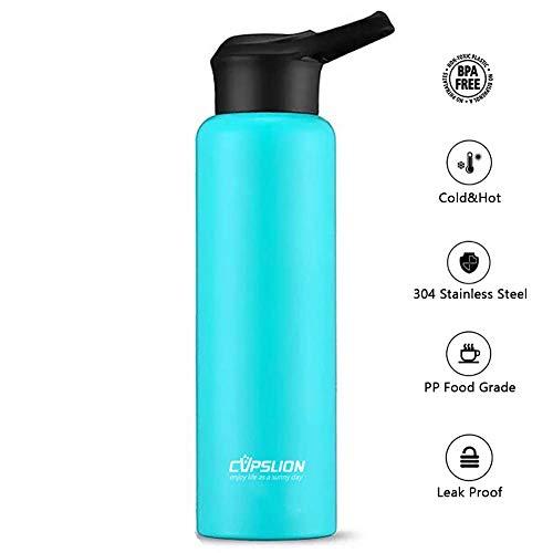 d.Stil Thermosflasche Edelstahl 750 ML Isolierte Trinkflasche Wasserflasche BPA frei Sportflasche (Blau)