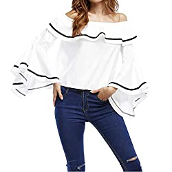 Long Sleeve T Shirt Women Off Shoulder Long Sleeve Ruffle Casual Tops Blouse (S, White)
