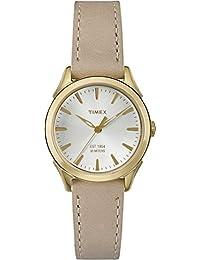 Timex Damen Quarzuhr mit weißem Zifferblatt Analog-Anzeige und braunem Lederband tw2p82000