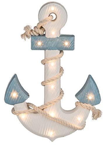 CBK-MS. Maritime Shabby Dekoration Holz Anker blau/Weiss mit Seil und LED Beleuchtung 12 LEDs warmweiss - Meer-lampe