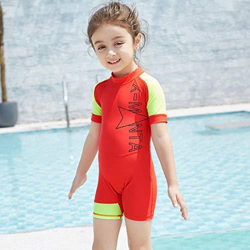 Vntoogreat Kinderbadebekleidung, einteiliger Neoprenanzug mit kurzen Ärmeln für Kinder, UV-Sonnenschutz 50+, schnell trocknender Surfanzug @red_S