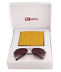 Gansta mens gift set of grey lens aviator sunglasses & 2 partion yellow wallet