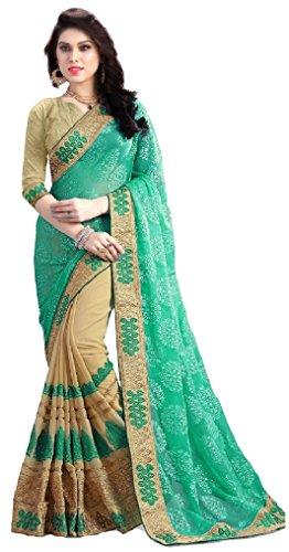 SUNSHINE Beige Color Georgette & Banglori Fabric Embroidery Saree ( New Arrival...