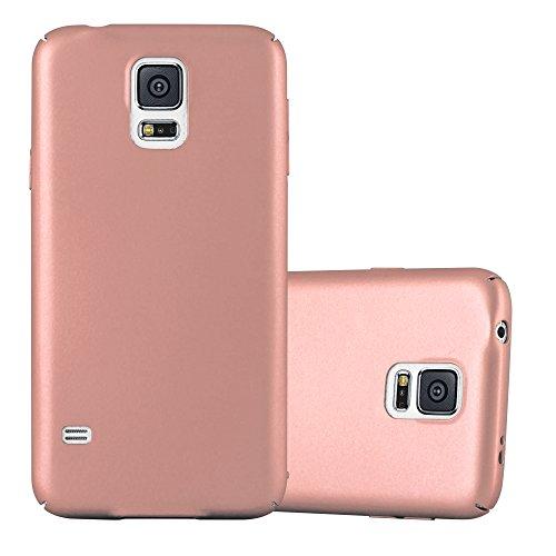 Cadorabo Hülle für Samsung Galaxy S5 / S5 NEO - Hülle in Metall Rose Gold - Hardcase Handyhülle im Matt Metal Design - Schutzhülle Bumper Back Case Cover