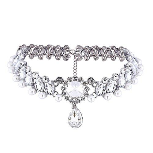 MagiDeal Elegant Choker Halskette mit Anhänger Strass Perlen Halsband Damen Halsschmuck, Silber / Gold - Silber