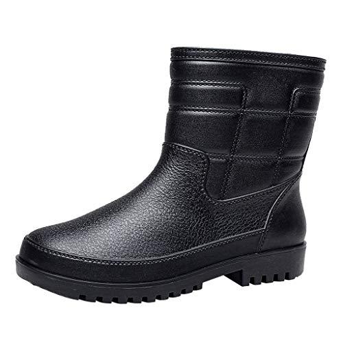 Männer Gummistiefel Kurze Röhre Regenstiefel wasserdichte rutschfest Gummischuhe Herren Stiefeletten Regen Stiefel Mode Rain Boot Angeln Schuhe, Schwarz, 38 EU