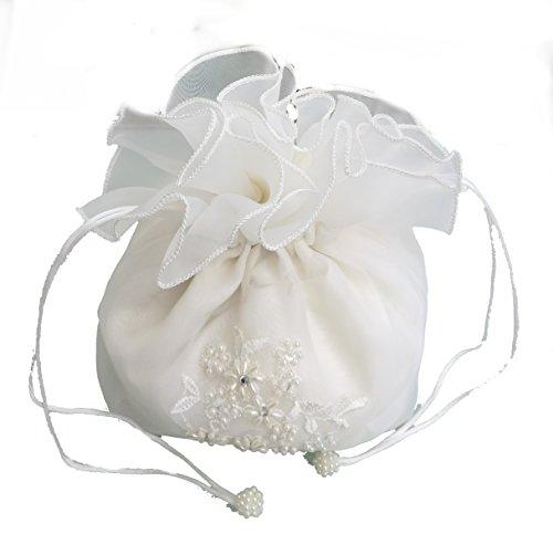 LadyMYP© Brautbeutel, Brauthandtasche: Organza mit gestickter Bordüre aus Perlen & Strass, weiß/ivory (ivory) (Gestickter Perle)