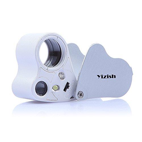 Yizish Lupa 30 X 60X Lente doble LED Joyería iluminada Lupa, Microscopio de bolsillo Lupas de lupa de aumento del joyero