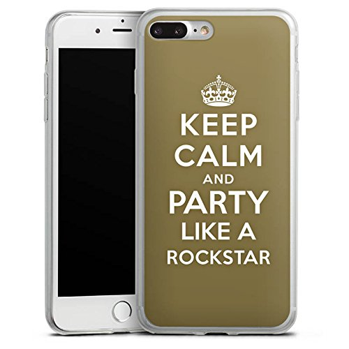 Apple iPhone 8 Plus Slim Case Silikon Hülle Schutzhülle Keep Calm Rockstar Musik Silikon Slim Case transparent
