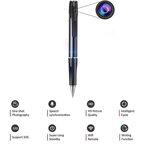 TONGTONG Stylo caméra HD, Mini-caméra DVR Portable sans Fil avec Carte mémoire 16G Prise en Charge de l'enregistrement en Boucle et de la Surveillance par téléphone