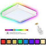 Albrillo RGB LED Panel 30x30cm - 20W Dimmbar Deckenleuchte mit 7 Lichtfarben und 3000K Warmweiß, Büroleuchte Inkl. Fernbedienung, LED Trafo und Weiß Aluminiumsrahmen