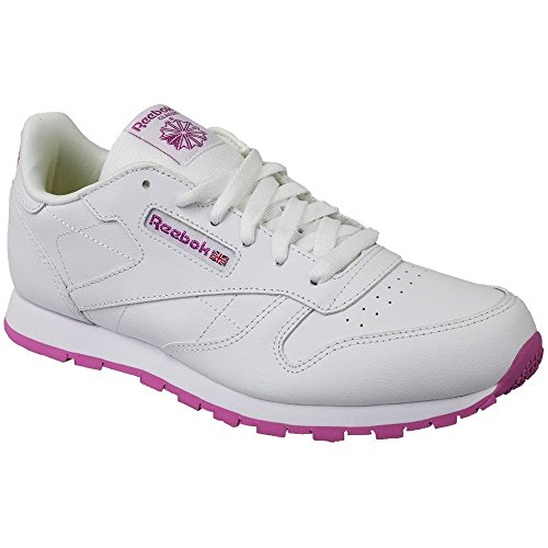 Reebok Classic Leather, Basses Mixte Enfant Blanc (Lurex-White/Pink Frenzy)