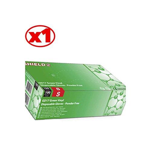 Guanti in vinile verde Shield2–La scatola di 100–AQL–gd17V