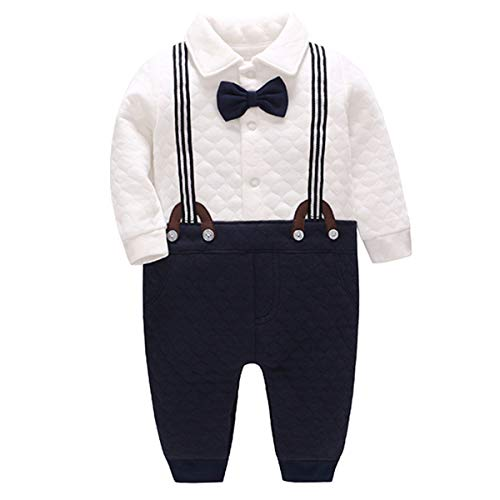 Bebone Baby Jungen Strampler Taufe Hochzeit Babykleidung Langarm Anzug (Blau, 3-6 Monate/66)