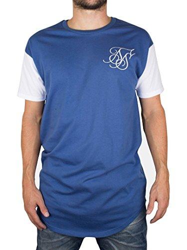 Sik Silk Herren Curved Hem T-Shirt, Blau Blau
