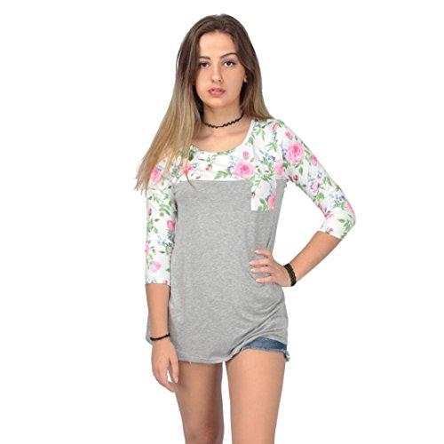 Camicetta delle donne Fiore, FEITONG Il fiore lungo del manicotto di stampa camicia casuale Tops Grigio3