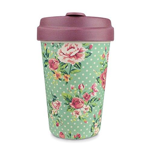 Wiederverwendbare Kaffeebecher, 384ml, aus natürlichem Bambus mit Bambusdeckel, mit Hitzeschutzstreifen, in verschiedenen Farben erhältlich vintage rosenmuster