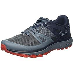 Salomon Trailster, Zapatillas de Trail Running para Hombre, Gris (Stormy Weather/Navy/Valiant Poppy), 44 EU