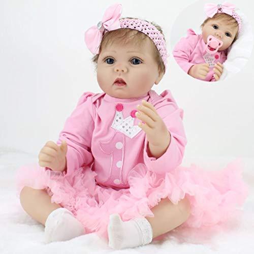 ZIYIUI Muñecas Reborn bebé 22 Pulgadas 55 cm Vinilo de Silicona Blanda Real Look Realista Muñeca Bebe Reborn niña Reales Silicona Juguetes (Ojos Abiertos)