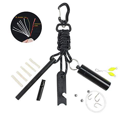 PSKOOK Survival Kit – Fire Starter Feuerstater Paracord mit 11,9 x 2 cm Groß Magnesium Ferro Rod und EDC Karabiner Paracord Schlüsselanhänger (Schwarz)