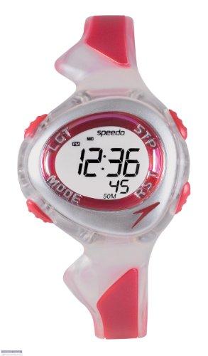 Speedo active swim - Reloj digital infantil de cuarzo con correa de goma roja (cronómetro, luz, alarma, cuenta vueltas) - sumergible a 50 metros