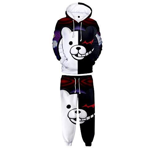 HHNN 3D Kinder Männer Und Frauen Set Hoodie Danganronpa Monokuma Hoodie Set Cartoon Schwarz Und Weiß Bär Cosplay Kostüm Hoodie Weihnachten (größe: (Schwarze Bären Kostüm)