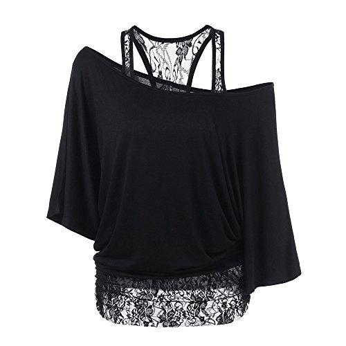 ESAILQ Mode Damen Casual Kurzarm Skew Neck Trägerlosen Blumendruck T-Shirt Tops (M, Schwarz-Y)