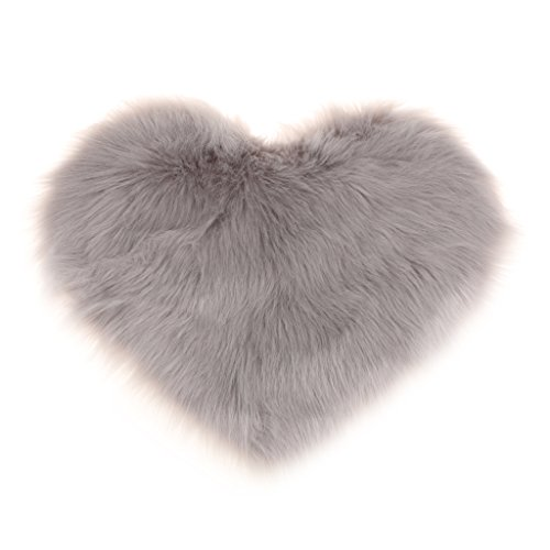 Homyl Weiche Künstliche Schaffell Teppich Sitzkissen Stuhlkissen Herzform, in 13 Farben - Grau