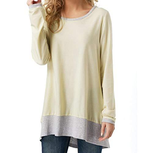 MEIbax Damen Langarm Rücken Patchwork Bluse Casual T-Shirt Tunika Tops Langarmshirt Oberteile