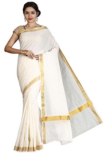 JISB Women's Cotton Saree With Blouse Piece (Saksa01033 _Cream)