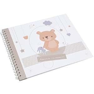 Amadeus - Livre de naissance Isidore l'ourson (46 pages) - Taupe, blanc