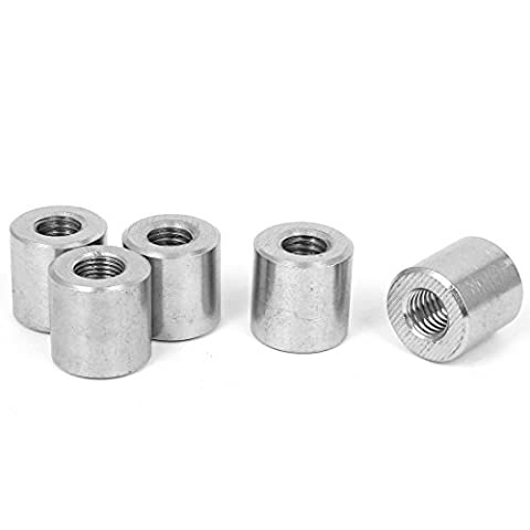 DealMux a16050300ux0585 Round Connector Nuts M10 304 Stainless steel Threaded Sleeve Rod bar Stud Round Connector Tube Nuts 5Pcs