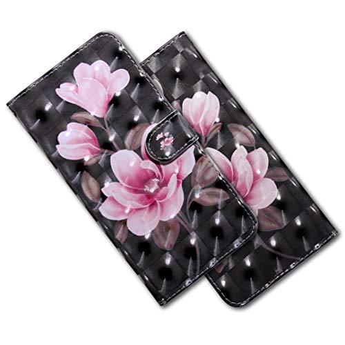 MRSTER Moto E5 Plus Handytasche, Leder Schutzhülle Brieftasche Hülle Flip Case 3D Muster Cover mit Kartenfach Magnet Tasche Handyhüllen für Motorola Moto E5 Plus. BX 3D - Pink Camellia