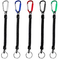 7Pcs Stretchy Spiral Keyring With Color Carabiner,Spiral Retractable Coil Spring Key chain Theftproof Anti-Lost Stretch Cord Safety Key Ring with Metal for Keys, Wallet, Cellphone