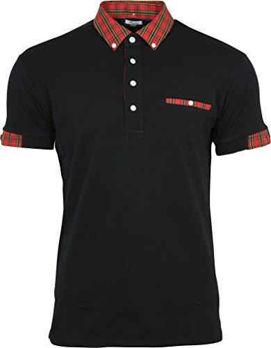 Relco Mens Black Polo Shirt Button Down Red