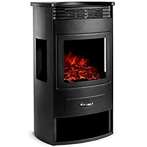 VonHaus 1900W Panoramic Stove Heater - Electric Fireplace with LED Flame Effect - Freestanding and Portable with Overheat Protection - Includes Remote Control