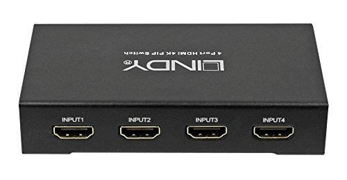 LINDY HDMI 4K UHD 4:1 Umschalter mit Pip Funktion Aufloesungen bis 4K2K 30, 1080P 120, 3D, HDCP 1.4 - Hi Def Audio