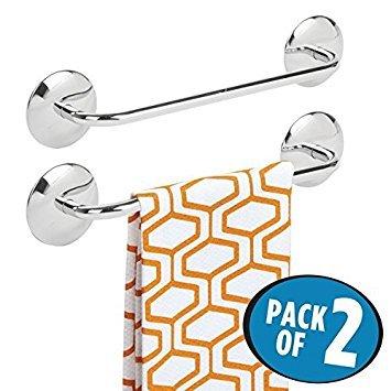 mDesign Juego de 2 toalleros de baño sin taladro – Toallero adhesivo de acero inoxidable para cocina – Perfecto como colgador de toallas para baño y para los paños de cocina – plateado